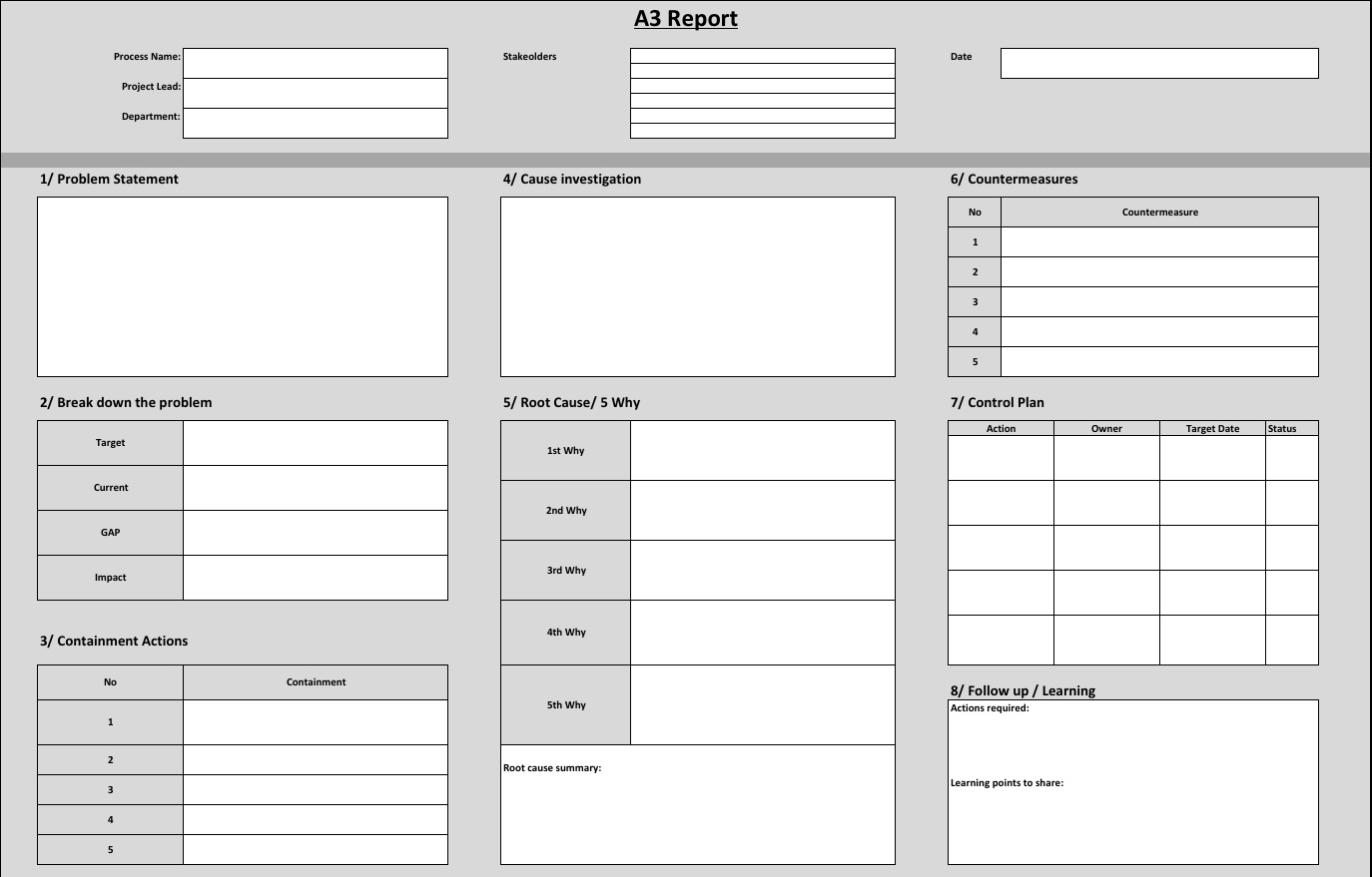How To Create An A3 Report Example Template In Excel Sanzu