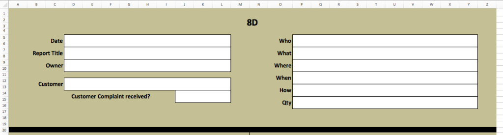 How To Create An 8d Report Template In Microsoft Excel Sanzu