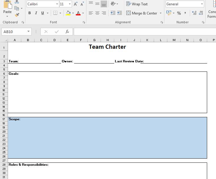 Team Charter Template | Excel Team Charter Template Team Charter 101 Sanzu
